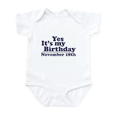 November 18th Birthday Infant Bodysuit