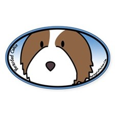 Anime Fawn Bearded Collie Oval Decal