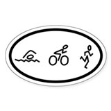 Triathlon Swim Bike Run Oval Bumper Stickers