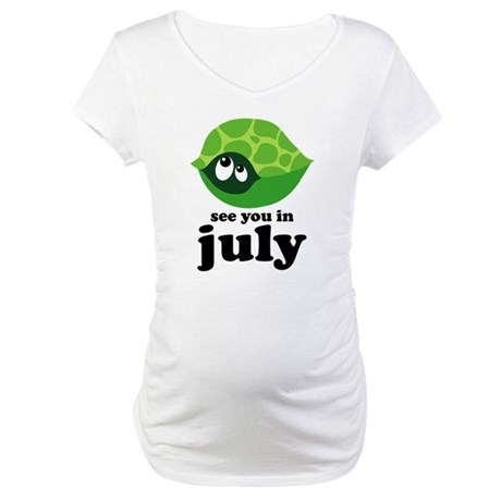 Turtle Design July Due Date Maternity T-Shirt