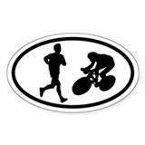 Duathlon Runner Biker Oval Decal