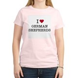 I Heart German Shepherds Women's Pink T-Shirt