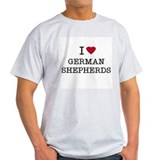I Heart German Shepherds Ash Grey T-Shirt