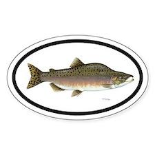 Pink Salmon Fishing Oval Decal