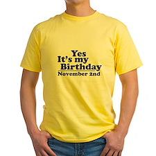 November 2nd Birthday T