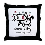 Drunk Kitty Throw Pillow