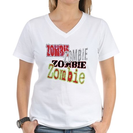 Zombie Creepy Halloween Women's V-Neck T-Shirt