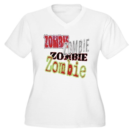 Zombie Creepy Halloween Women's Plus Size V-Neck T