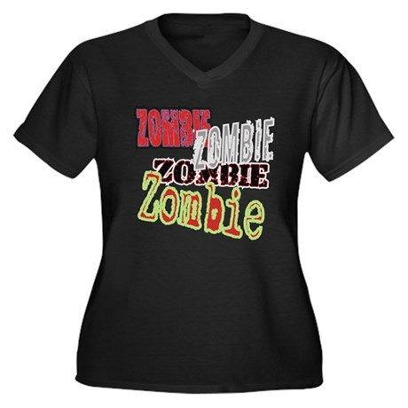 Zombie Creepy Halloween Women's Plus Size V-Neck D