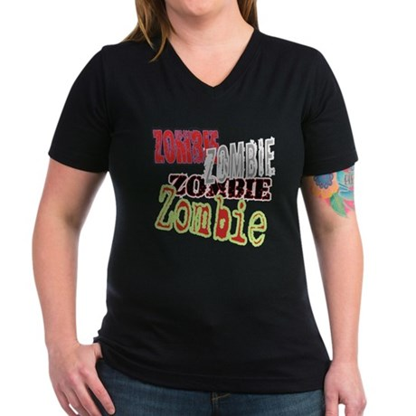 Zombie Creepy Halloween Women's V-Neck Dark T-Shir