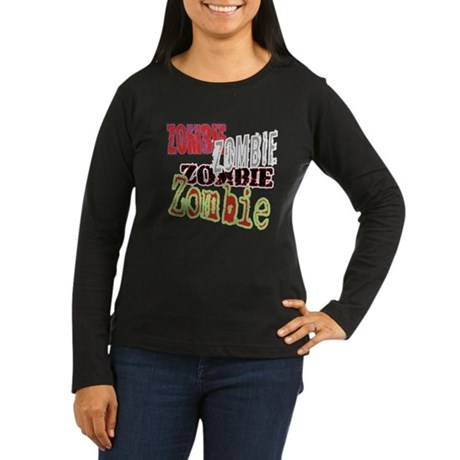 Zombie Creepy Halloween Women's Long Sleeve Dark T