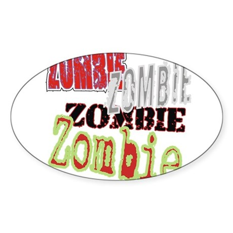 Zombie Creepy Halloween Oval Sticker