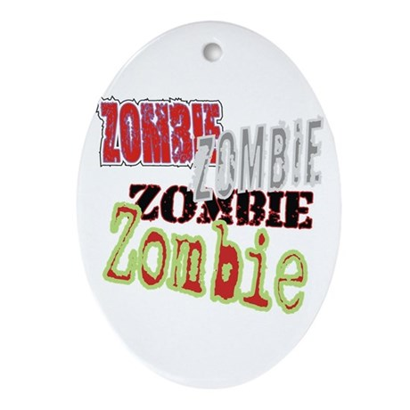 Zombie Creepy Halloween Oval Ornament