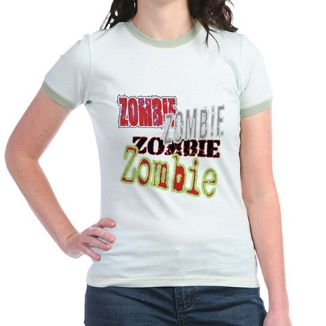 Zombie Creepy Halloween Jr. Ringer T-Shirt