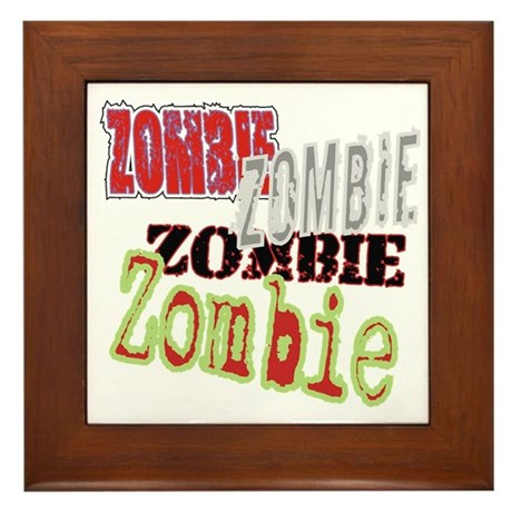 Zombie Creepy Halloween Framed Tile