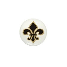 Black and Gold Fleur Mini Button (10 pack)