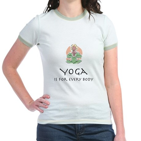 Yoga for every body Jr. Ringer t-logo on back