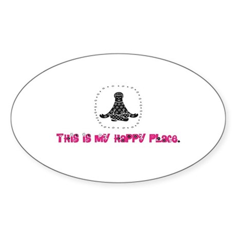 Yoga Happy Place Oval Sticker