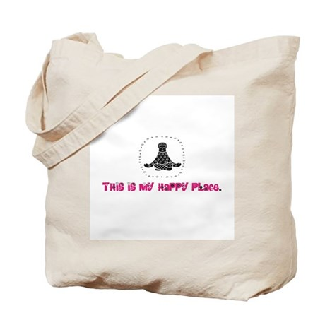 Yoga Happy Place Tote Bag, logo on back