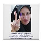 Two Fingers Thanks USA Tile Coaster