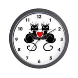 Black Cat Love Wall Clock