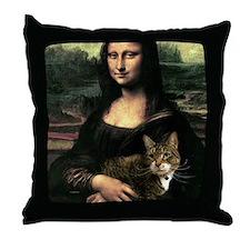 Mona Lisa & Tabby Throw Pillow