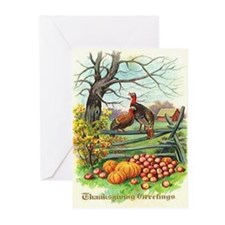 White Tom Turkey Greeting Cards (Pk of 10)