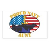 Proud Navy Aunt Rectangle Decal