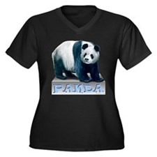 Panda Bear Women's Plus Size V-Neck Dark T-Shirt
