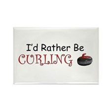 I'd Rather Be Curling Rectangle Magnet (100 pack)
