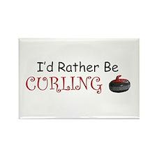 I'd Rather Be Curling Rectangle Magnet (100 pack)