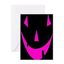 Pink Punkin Face Halloween Greeting Card