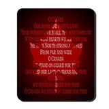 Canada Anthem Souvenir Mousepad Maple Leaf Design