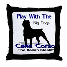 cane Corso Let's Play Throw Pillow
