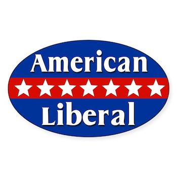 American Liberal Oval Bumper Sticker