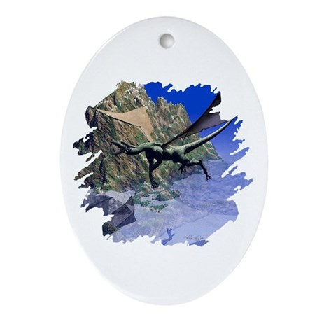 Flying Dragon Oval Ornament