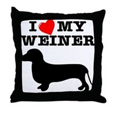 Love My Weiner Throw Pillow
