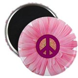 Pink Peace Daisy 2.25&quot; Magnet (100 pack)