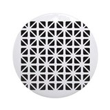 Black And White Geometric Ornament (Round)