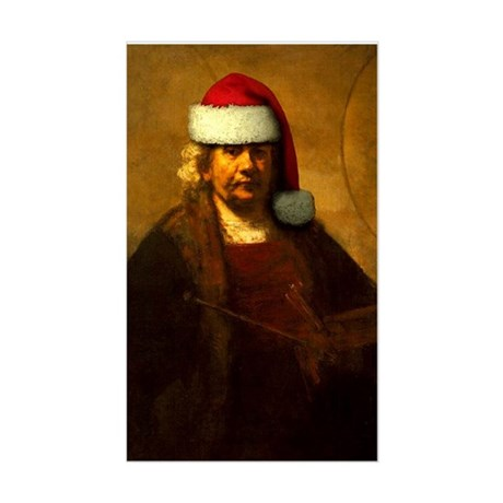 Rembrandt Santa Rectangle Sticker