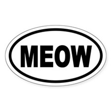 Cat MEOW Oval Decal