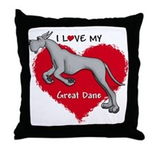 Love Black Dane Throw Pillow