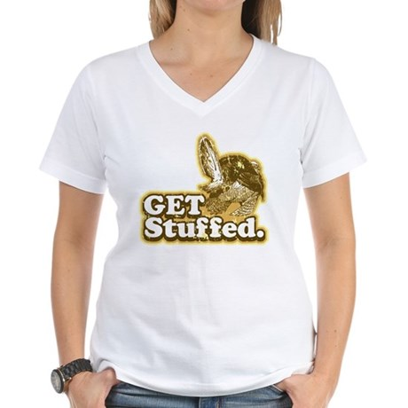 Get Stuffed Turkey Women's V-Neck T-Shirt
