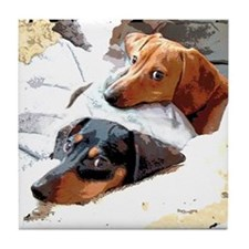 Naptime Love Dachshunds Tile Coaster