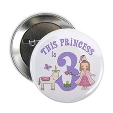 Unicorn Princess 3rd Birthday Button