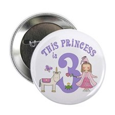 "Unicorn Princess 3rd Birthday 2.25"" Button (10 pac"