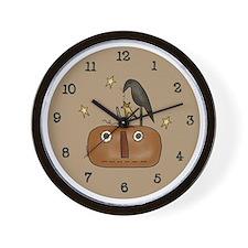 Primitive Jack-O-Lantern Wall Clock