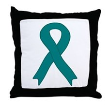 Teal Ribbon Throw Pillow