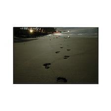 Unique Footprints sand Rectangle Magnet (10 pack)
