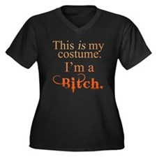 Halloween Bitch Women's Plus Size V-Neck Dark T-Sh